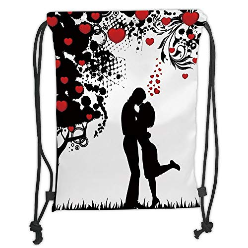 Custom Printed Drawstring Sack Backpacks Bags,Kiss,Silhouette of Lovers near Abstract Tree with Red Hearts Valentines Day Concept Decorative,Red Black White Soft Satin,5 Liter Capacity,Adjustable Stri