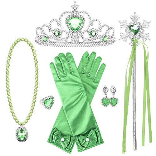 loel Princess Dress up Party Accessories - 3 Piece Gift Set: Tiara, Wand and Gloves Sliver