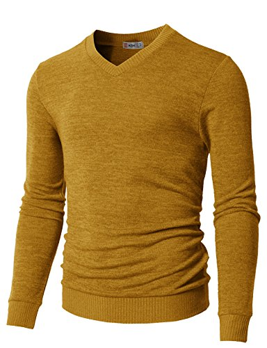 - H2H Men's Wool Blend Solid V-Neck Sweater Pullover Mustard US L/Asia XL (CMOSWL018)