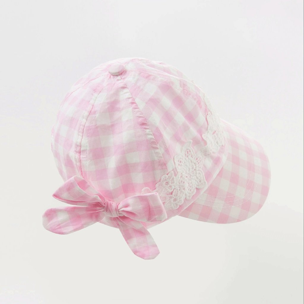Color : Rose Powde, Size : 52cm Zcx Hat Girls Summer Sun Hat Outdoor Dome Visor Plaid Cap