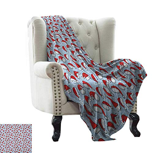 Anyangeight Christmas, Blankets and Throws, Red Santa Claus Hats New Years Theme with Snow Like Dot Pattern, Couch Bed Blankets Mini Size, (W60 x L62 Inch Pale Blue Red and White