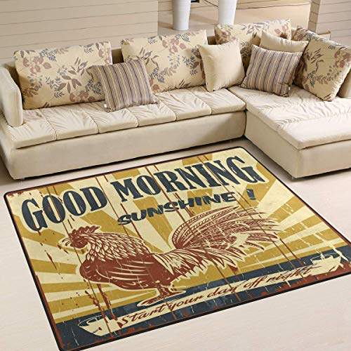 Vintage Good Morning Sunshine Rooster for Floor Mat Rug Indoor/Front Door/Kitchen and Living Room/Bedroom Mats Rubber Non Slip ()