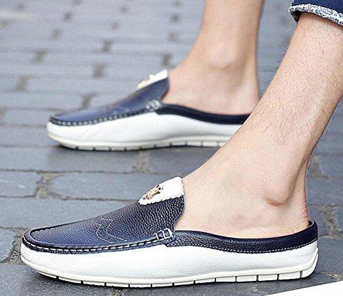 GLTER Hombres Sandalias Respirable Mocasines Zapatos Verano Nuevo Resbalón En Zapatos Casual Zapatillas De Cuero blue white