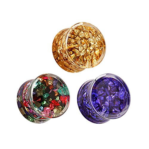 KUBOOZ(1 or 4 Pair) Transparent-Acrylic Stone-mosaic Ear Plugs Tunnels Gauges Stretcher Piercings 1/2