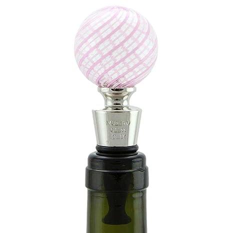 glassofvenice tapón para botella de cristal de Murano – Rosa remolinos