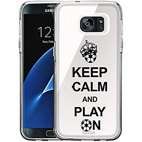 Samsung Galaxy S7 Edge Case, Snap On Cover by Trek KEEP CALM And Play On - Soccer on White One Piece Trans Case Sales