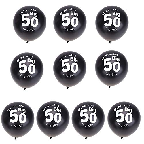 Ballons Accessories - 10pcs Black 50th Birthday Party 11inch Pearlised Latex Printed Balloons Inflatable Wedding Decor - Balloons -