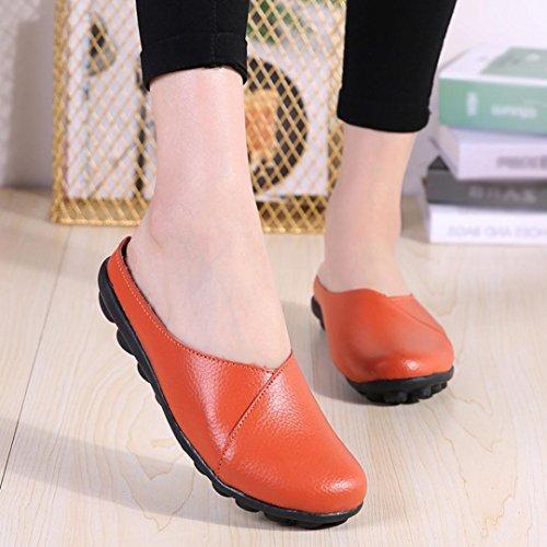 Fheaven Femmes Chaussures Solides Chaussures Souples Mou Slip-on Chaussures Décontractées Mocassins Pantoufles Orange