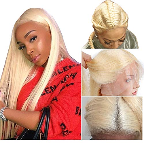 - #613 Blonde Breathable Full Lace Wigs Glueless 150% Density Silk Straight Virgin Human Hair Wig With Baby Hair Pre-plucked Hairline Bleached Knots(20 inches)