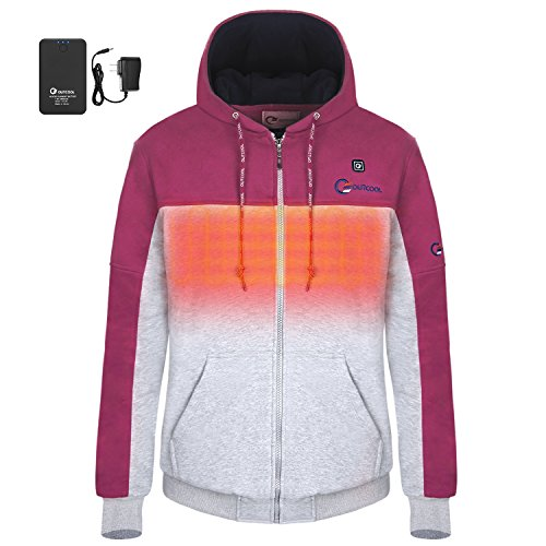 OUTCOOL Women's Cordless Heated Hoodie Kit Color Matching Design Full-Zip Hooded Fleece Sweatshirt(M) by OUTCOOL (Image #1)