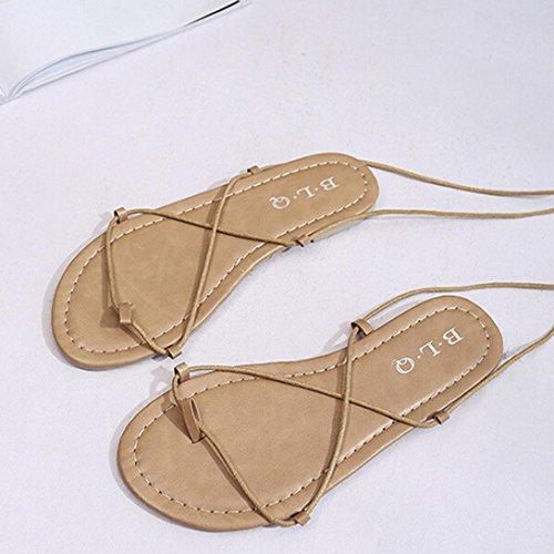 Hunpta Frauen Mode Kreuz-gebundenen Knöchelriemen Boho Sandalen flache Sandalen Khaki