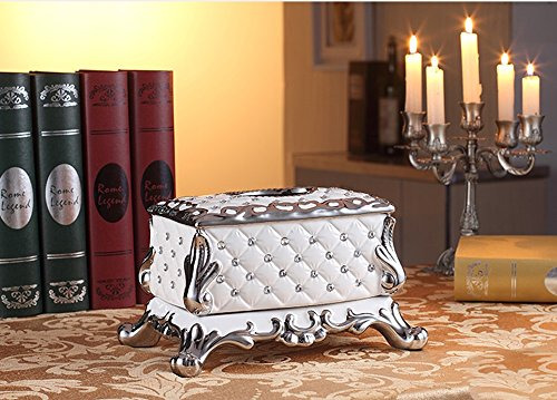 Hyun times European-style tissue box pumping tray Decoration luxury living room coffee table household ceramic grade paper box pumping Household American by Hyun times tissue box (Image #1)
