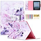 iPad Case,iPad 2/3/4 Flip Case, Dteck(TM) Magnetic Synthetic Leather Stand Smart Cover with [Auto Wake/Sleep Function] for Apple iPad 4th Retina Display,iPad 3 & iPad 2 (01 Life is Beautiful)