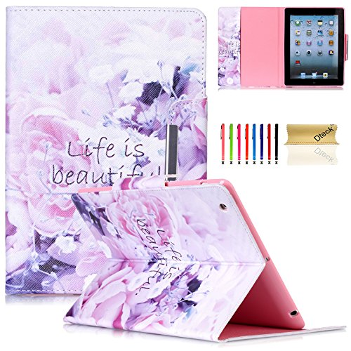 iPad Case,iPad 2/3/4 Flip Case, Dteck(TM) Magnetic Synthetic Leather Stand Smart Cover with [Auto Wake/Sleep Function] for Apple iPad 4th Retina Display,iPad 3 & iPad 2 (01 Life is Beautiful) ()