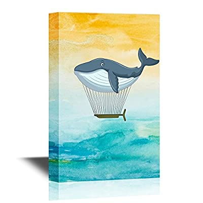 Canvas Wall Art - Whale Shaped Hot Balloon Creative Flying Concept - Gallery Wrap Modern Home Art | Ready to Hang - 12x18 inches