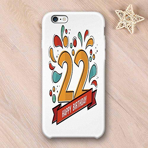 22nd Birthday Decorations Custom Compatible with iPhone Case,Colorful Anniversary Invitation Typography with Modern Graphic Compatible with iPhone 6/6s,iPhone -
