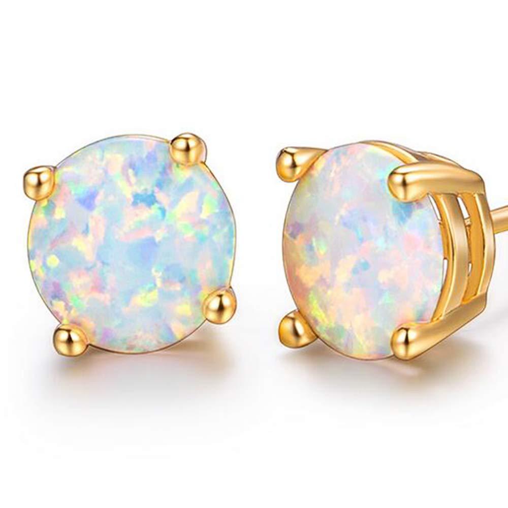 18K White Gold Plated Small Round Opal Stud Earrings For women stud earrings girl LAIKANI DANBAISHI