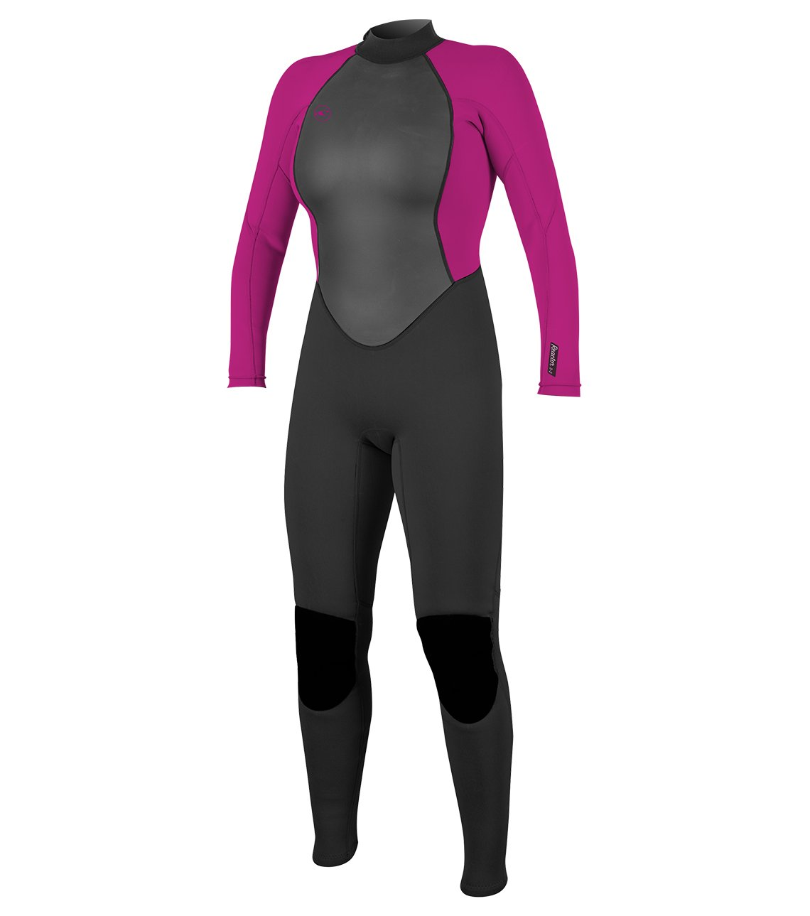 O'Neill Women's Reactor-2 3/2mm Back Zip Full Wetsuit, Black/Berry, 14 by O'Neill Wetsuits