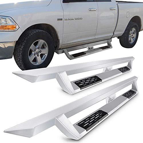 Running Boards Fits 2009 2015 Dodge Ram 1500 2010 2015 Dodge Ram 2500 3500 Quad Cab Ikon V1 Style Silver Steel Side Step Bar Nerf Bar By Ikon Motorsports 2010 2011 2012 2013 2014