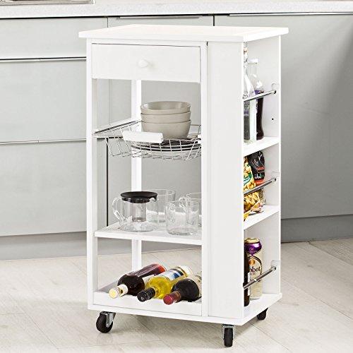 SoBuy® Servierwagen, Küchenwagen, Rollwagen m. Schublade aus Holz FKW12-W (Weiß)