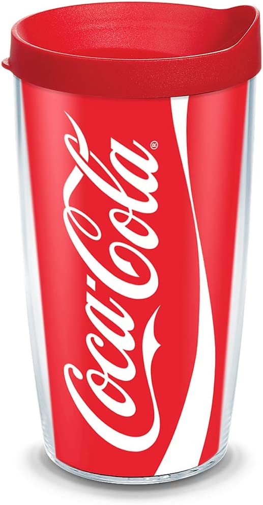 Tervis 1103468 Coca-Cola - Coke Can Tumbler with Wrap and Red Lid 16oz, Clear