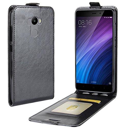 OFU® Para Xiaomi Redmi 4 Funda,PU Hybrid Card Carry Pocket Wallet Slot,Cartera Cuero Funda de Piel Wallet Case para Xiaomi Redmi 4 Carcasa Flip Case Cover(negro) negro