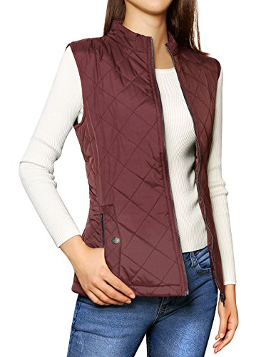 Allegra K Women's Stand Collar Lightweight Gilet Quilted Zip Vest Red X-Small
