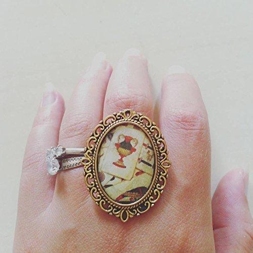 regalo di san valentino anello cammeo carte da gioco sicilia ottone oro dipinto a mano barocco
