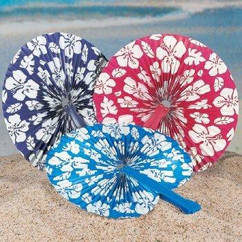 12 Luau Hibiscus Print Folding Fans