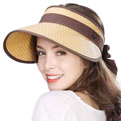 Jeff & Aimy Large Wide Brim Straw Visor Sun Hat for Women UPF 50 Crushable Summer Beach Travel Safari Sunhat Khaki