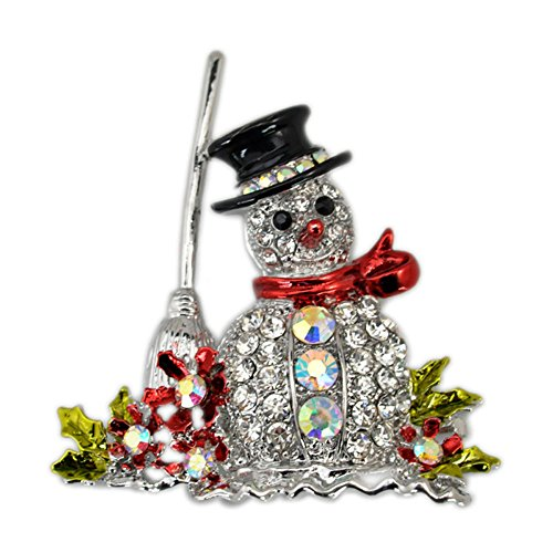 (lotus.flower Christmas Brooch Pin - Cute Snowman Crystal Christmas Brooch Pin for Festival Gift Party Decoration Ornaments Gifts Christmas Pins Decoration (Silver))