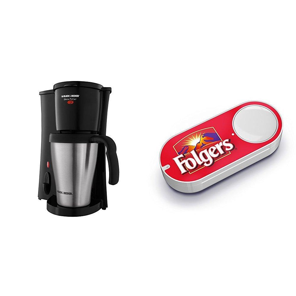 Black & Decker DCM18S Brew 'n Go Personal Coffeemaker w/Travel Mug & Folger's Dash Button