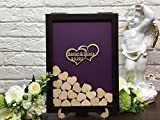 Personalized Wedding Guest Book Drop Top Box, Heart Wooden Guest Book 40x50 CM With 150 Pcs Wooden Hearts