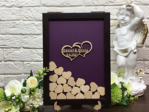 Personalized Wedding Guest Book Drop Top Box, Heart Wooden Guest Book 40x50 CM With 150 Pcs Wooden Hearts by restore2a