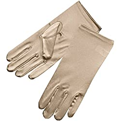 ZaZa Bridal Shiny Stretch Satin Dress Gloves Wrist Length 2BL-Champagne
