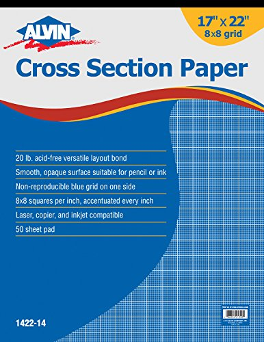 Paper Opaque Bond (Alvin 1422-14 Cross Section Paper 8 x 8 Grid 50-Sheet Pad 17 inches x 22 inches)
