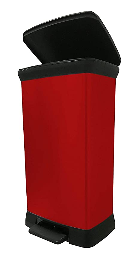 Curver Decobin Pedaal 30l.Curver Metal Effect Plastic Pedal Touch Deco Bin Red 50 Litre