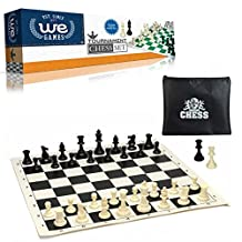 "Tournament Style Chess Set with Black Tournament Roll-up Chessboard with 2.25"" Square"