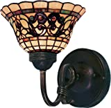 Elk 361-Va Tiffany Buckingham 1-Light Sconce - 9-Inch - Vintage Antique With Tiffany Style Glass