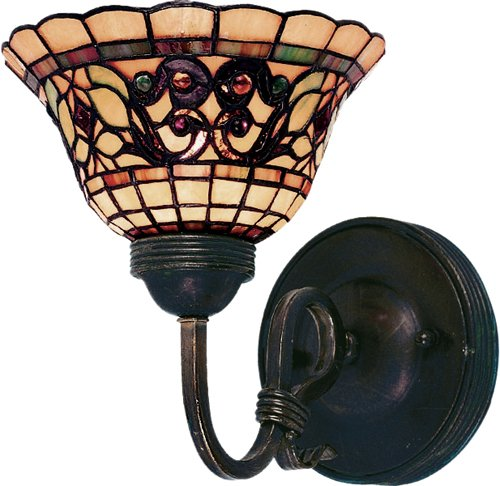Elk 361-Va Tiffany Buckingham 1-Light Sconce, 9-Inch, Vintage Antique With Tiffany Style Glass
