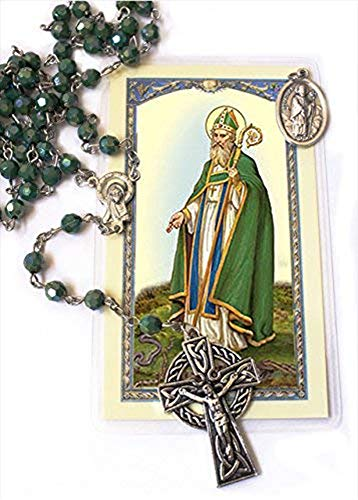 Irish Rosary with Celtic Cross Gift set (includes St Patrick medal and Holy ()