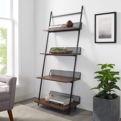 Walker Edison Modern Industrial Metal and Wood Ladder Bookcase Bookshelf Home Office Living Room Storage