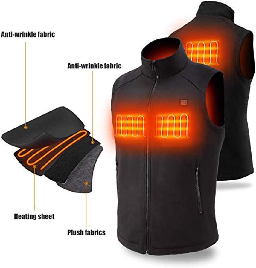 Ckssyao USB Electric Heated Vest Fleece Carbon Fiber Washable Adjustable Charging Heating Vest Clothing Winter Ski Hiking Motorcycle Travel Fishing Golf,Black,S