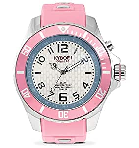 Kyboe Stainless Steel Silver Series Women's Silver Dial Silicon Rubber Watch- KY.028, Pink
