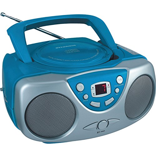 Sylvania SRCD243 Portable CD Player with AM/FM Radio, Boombox (Blue) (Best Cd Radio Boombox)