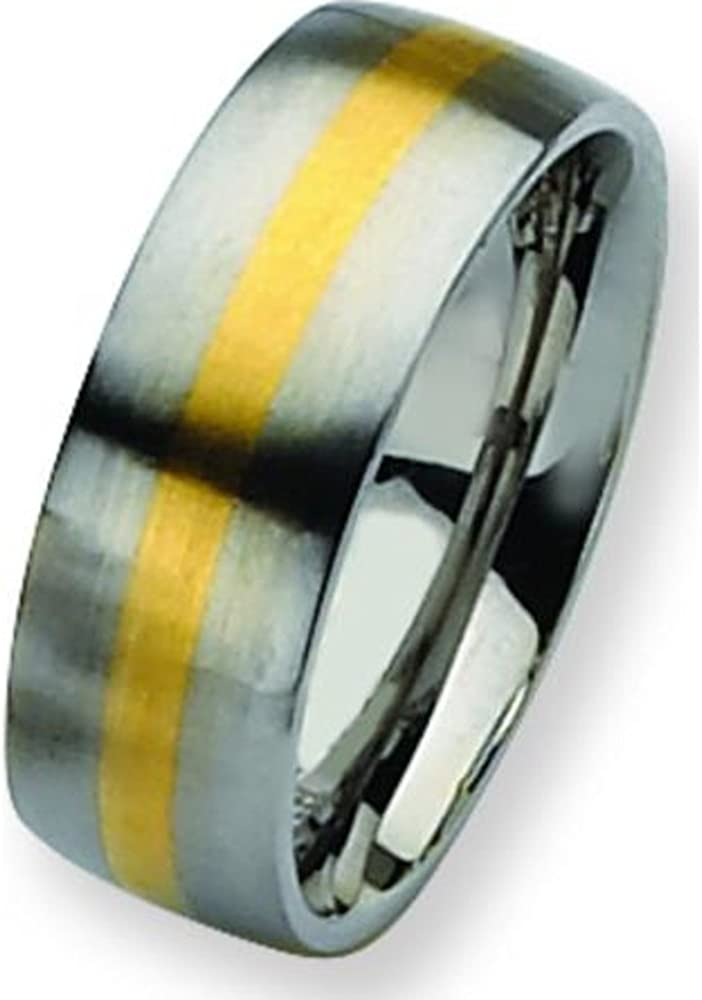 Stainless Steel 14K Gold Inlay 8mm Ring Band Sz 8.5