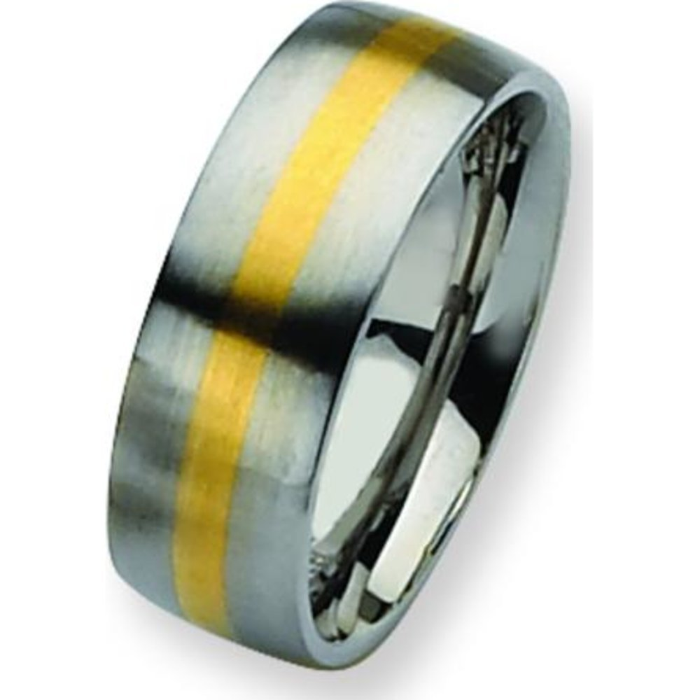 Stainless Steel 14K Gold Inlay 8mm Mens Ring Size 11