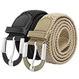 Falari Unisex Braided Elastic Stretch Belt Casual Weave Canvas Fabric Woven Belt 1001-BLKBGE-L