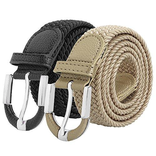 Falari Unisex Braided Elastic Stretch Belt Casual Weave Canvas Fabric Woven Belt 1001-BLKBGE-L by Falari