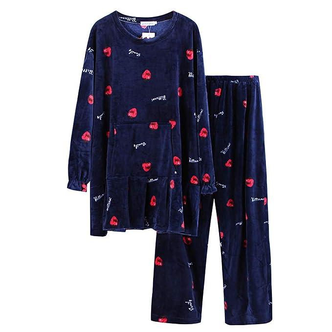 Meaeo Las Mujeres Embarazadas Engrosada Pijama De Terciopelo Suave, Conjuntos De Pijama, Vestirse Dormir